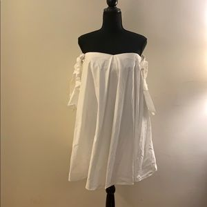 Off The Shoulder White Dress w/ 3/4 Length Sleeve